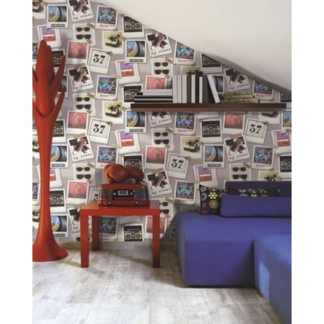 Galerie Wallcoverings Galerie YOLO Polaroid Photo Pattern Retro Collage Music Vinyl Teen Wallpaper 5000-2