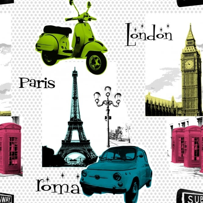 Galerie Wallcoverings Galerie YOLO Pop Art Polka Dot Pattern London Paris Photo Wallpaper CB1001