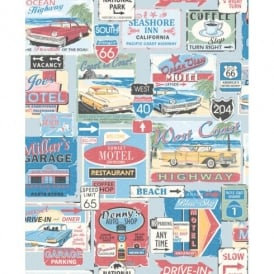 Galerie Yolo Retro Vintage Car Patter Road Sign USA Americana Wallpaper 5002-1