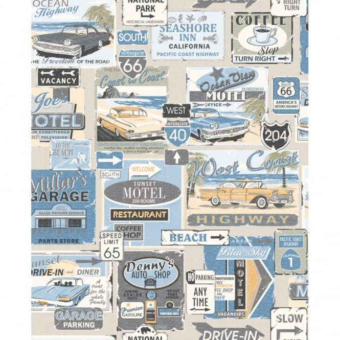 Galerie Wallcoverings Galerie Yolo Retro Vintage Car Patter Road Sign USA Americana Wallpaper 5002-2