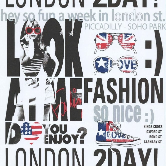 Galerie Wallcoverings Galerie YOLO London UK USA Typography Silver Girls Fashion Wallpaper 51140201