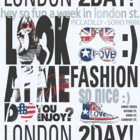 Galerie YOLO London UK USA Typography Silver Girls Fashion Wallpaper 51140201