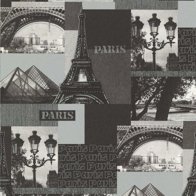 Galerie Wallcoverings Galerie Yolo Paris Eiffel Tower Metallic Silver Photographic Wallpaper 11096309