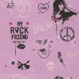 Galerie YOLO Pink Wall Graffiti Silver Skull Heart Pattern Wallpaper 51140303