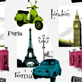 Galerie YOLO Pop Art Polka Dot Pattern London Paris Photo Wallpaper CB1001