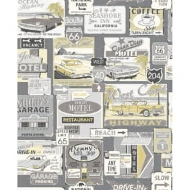 Galerie Yolo Retro Vintage Car Patter Road Sign USA Americana Wallpaper 5002-3
