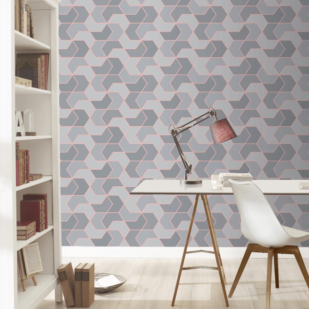 Geo Hexagonal Shape Patel Colour Metallic Modern Smooth Wallpaper 270334