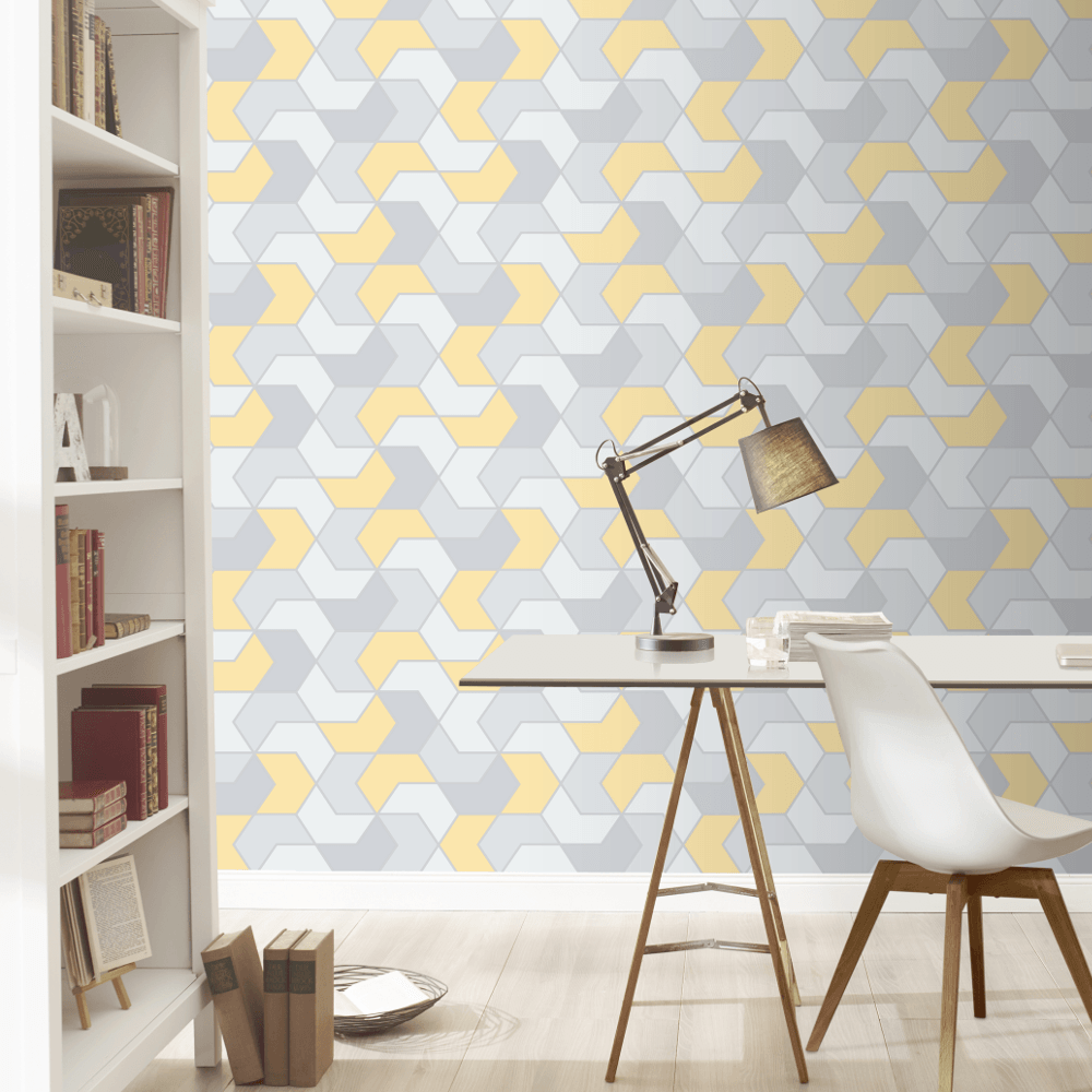 Geo Hexagonal Shape Patel Colour Metallic Modern Smooth Wallpaper 270341