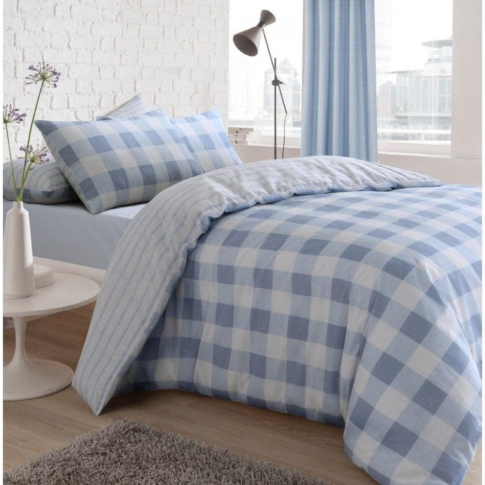 Gingham Check Blue Reversible Duvet Quilt Cover Bedding