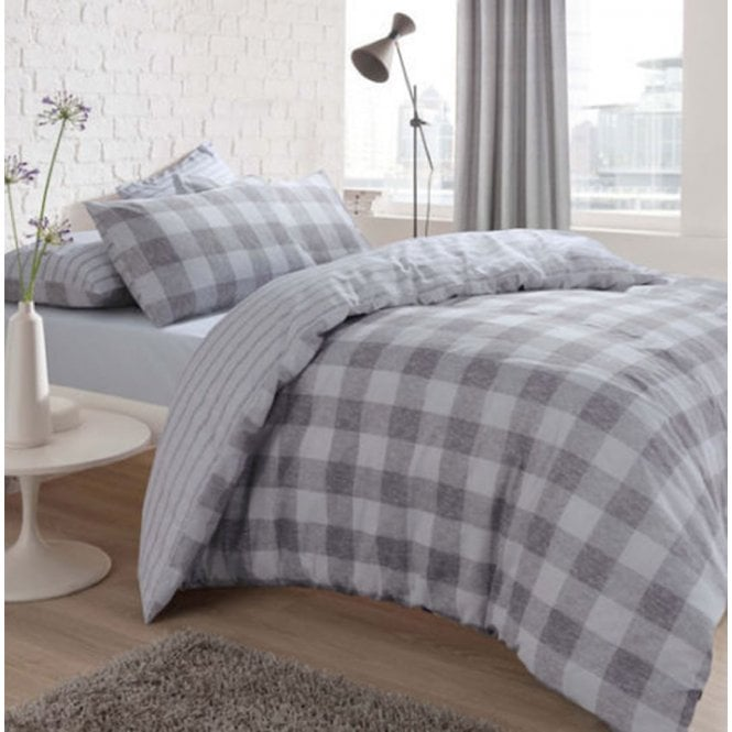 Gingham Check Grey Reversible Duvet Quilt Cover Bedding