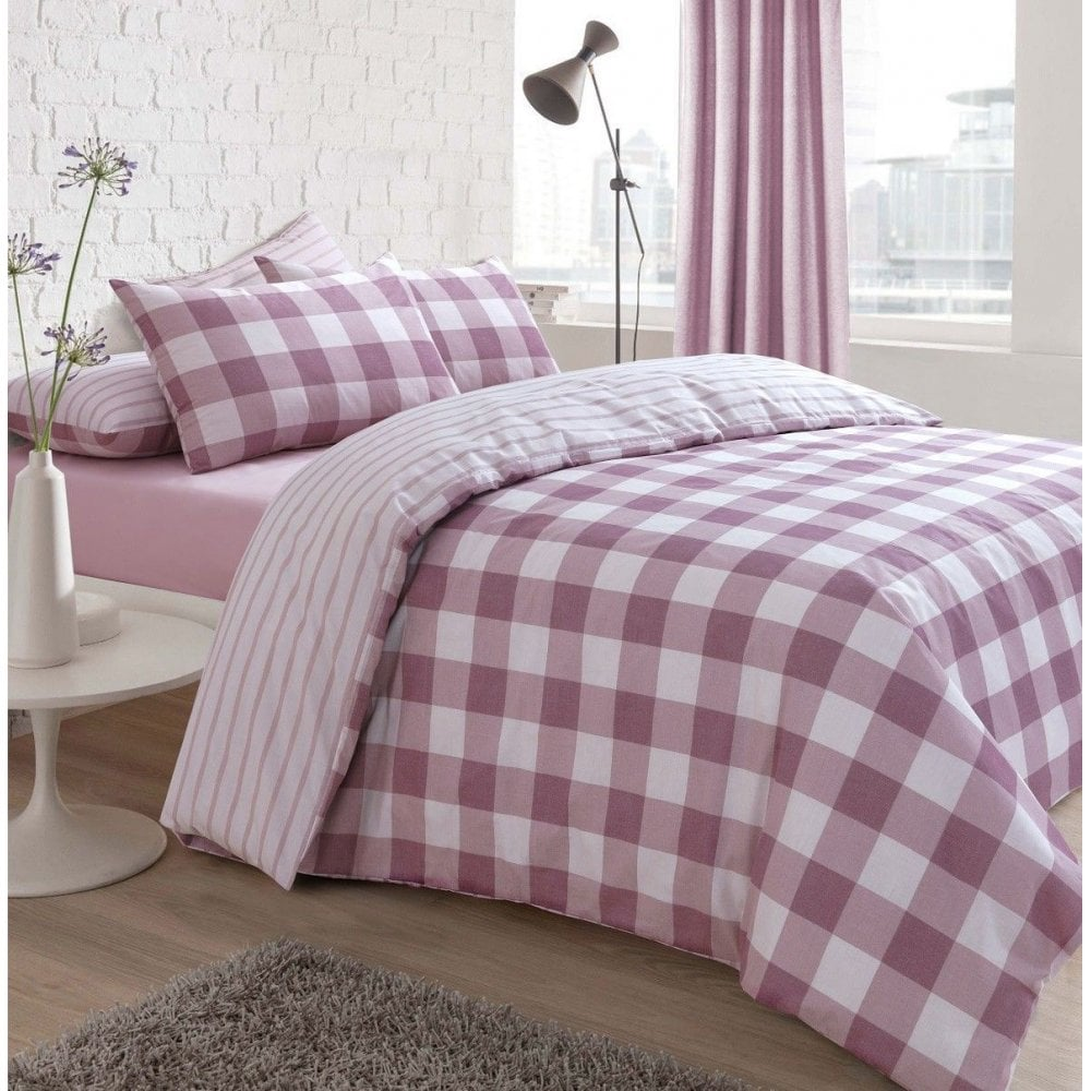 CHECKED PRINTED POLY COTTON  DUVET QUILT COVER BEDDING SET SINGLE DOUBLE KING