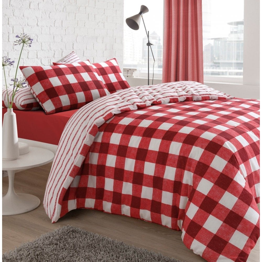 Gingham Check Red Reversible Duvet Quilt Cover Bedding