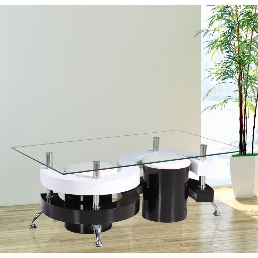 Gr8 Home S Shape Rectangular Glass Dining Coffee Table And 2 Stools Chairs Set 2005780