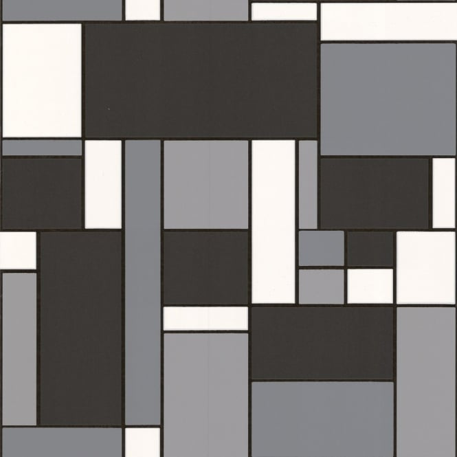 Graham Brown Contour Beige Natural Stone Tile Kitchen: Graham & Brown Contour Geo Black White Mondrian Style Tile