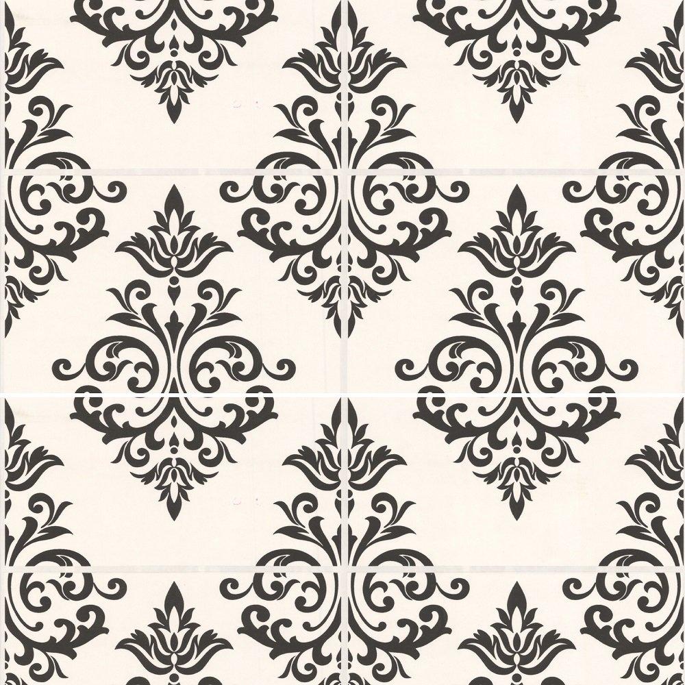 Graham Brown Contour Pallade Damask Tile Wallpaper 17167 Black