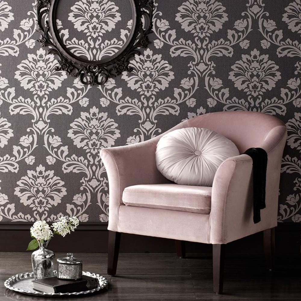 graham  brown aurora damask pattern textured glitter wallpaper  - graham amp brown aurora damask pattern textured glitter vinyl wallpaper