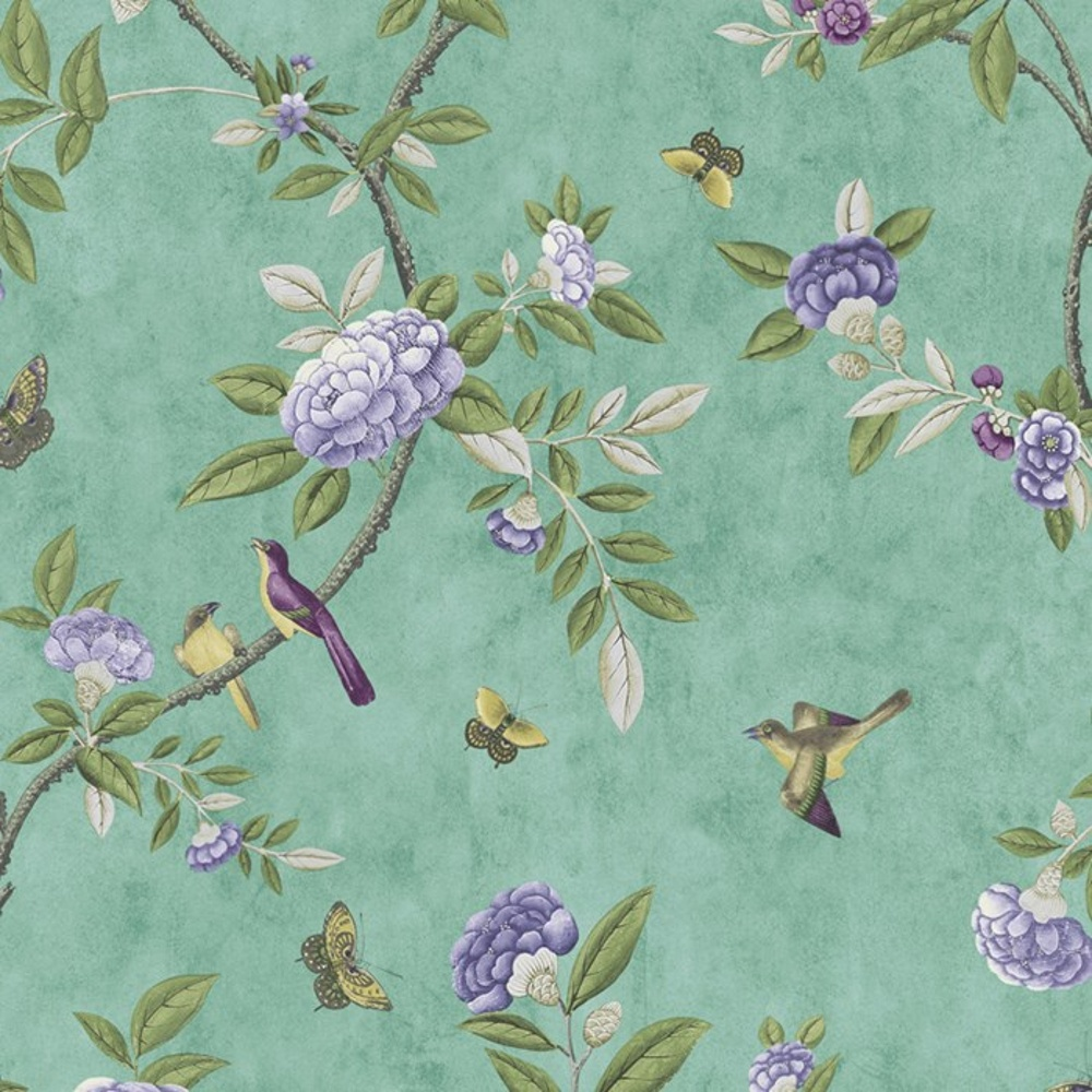 Graham Brown Chinoiserie Bird Butterfly Floral Leaf Wallpaper 50 762