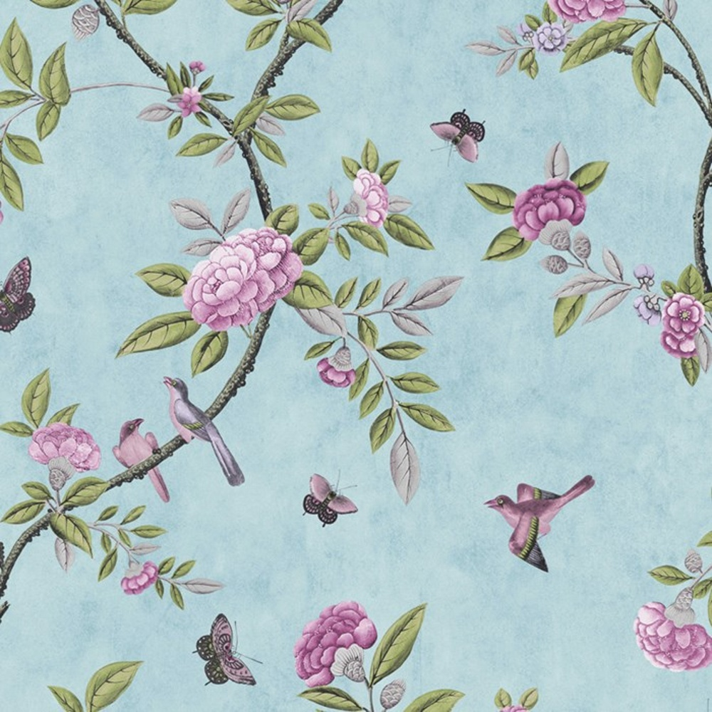 Graham brown chinoiserie bird butterfly floral leaf - Butterfly wallpaper homebase ...