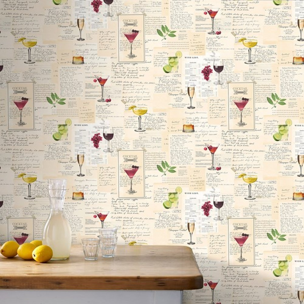 Graham Brown Cocktail Drinks Pattern Vinyl Kitchen Wallpaper 32 999