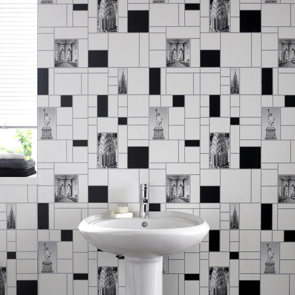 Homebase Black And White Kitchen Wallpaper
