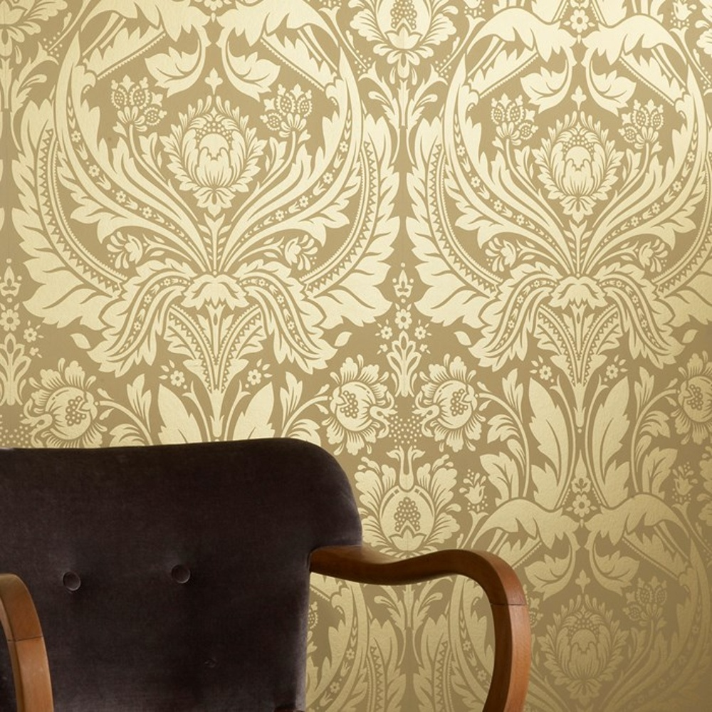 Graham brown desire shimmer damask motif pattern gold for Designer wallpaper uk
