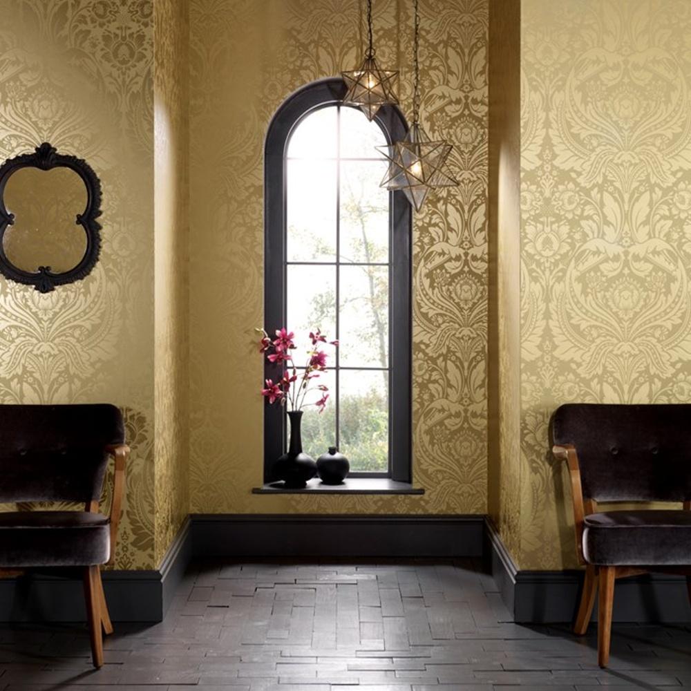 graham brown desire shimmer damask motif pattern gold. Black Bedroom Furniture Sets. Home Design Ideas