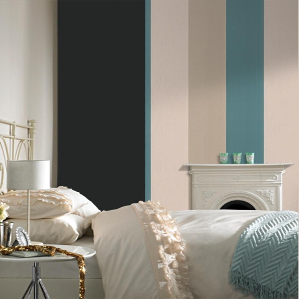 Graham brown figaro striped luxury metallic modern for Black wallpaper for bedroom walls
