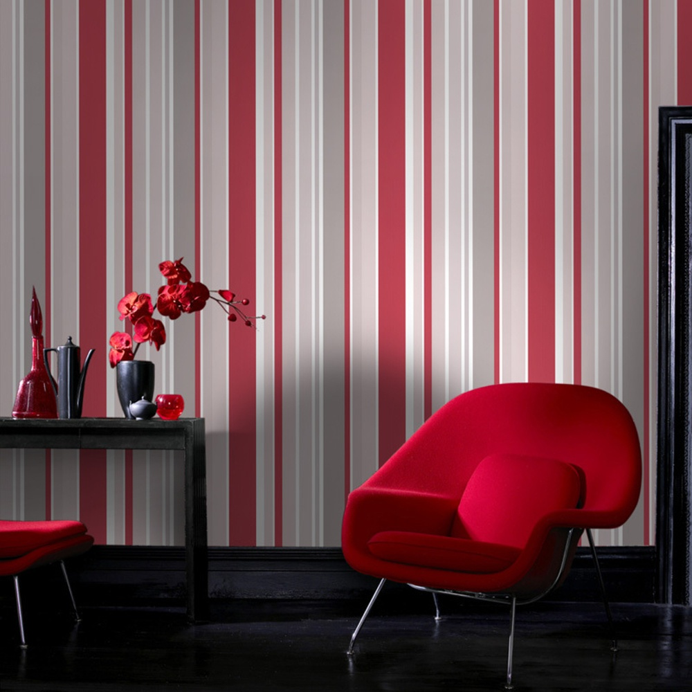 Graham brown fresco rico striped pattern red grey for Red and grey wallpaper