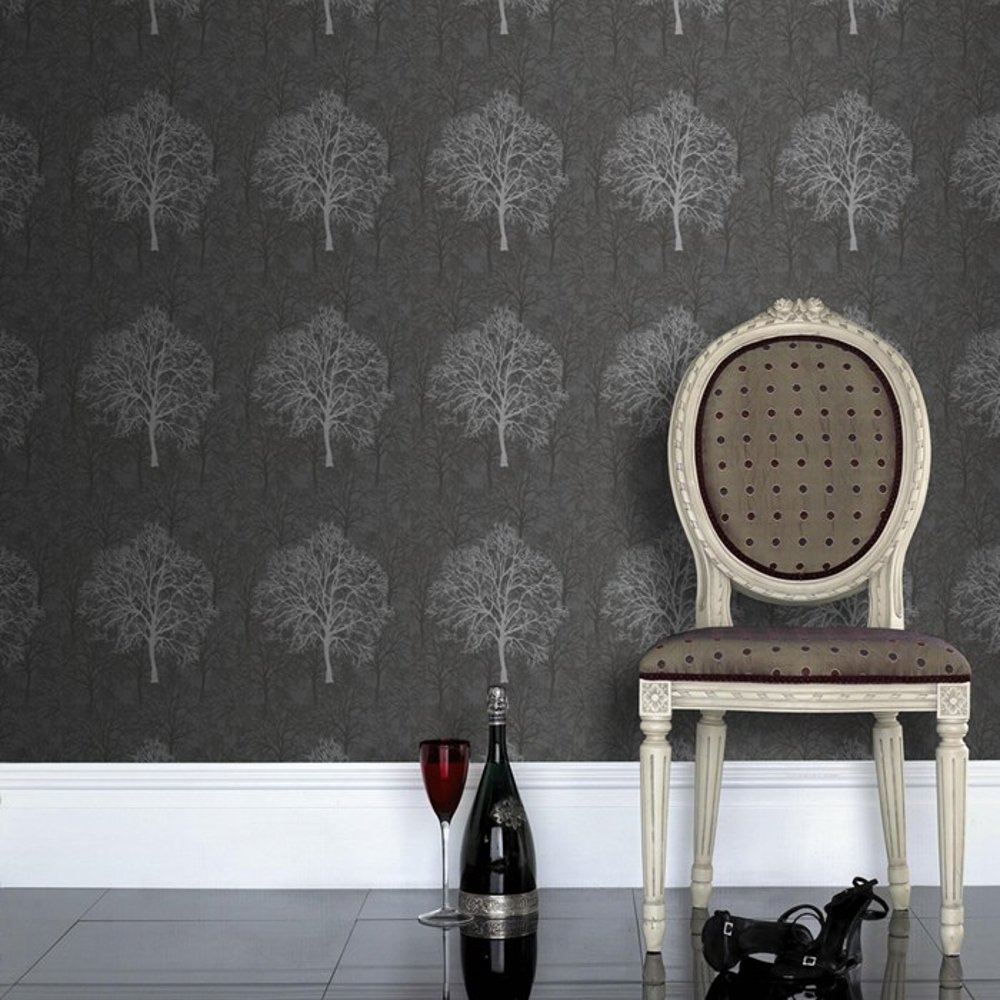 graham brown gothic silver black tree pattern motif