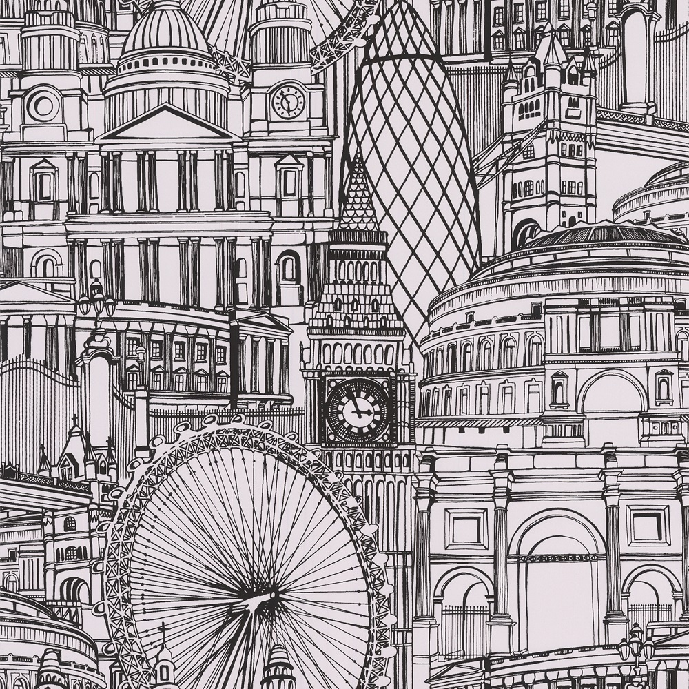 Graham brown londinium london illustrated drawing cityscape wallpaper 5 - Papier peint graham and brown ...