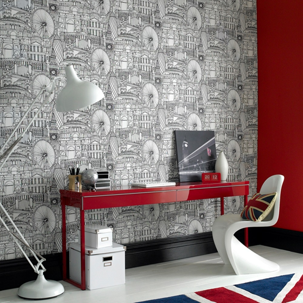 graham brown londinium london illustrated drawing cityscape wallpaper 50 308. Black Bedroom Furniture Sets. Home Design Ideas