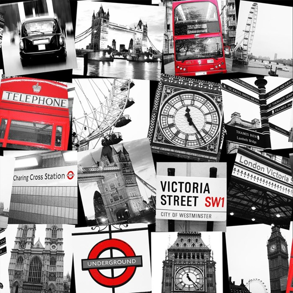 Graham brown london taxi black white photo pattern for Black and white london mural wallpaper