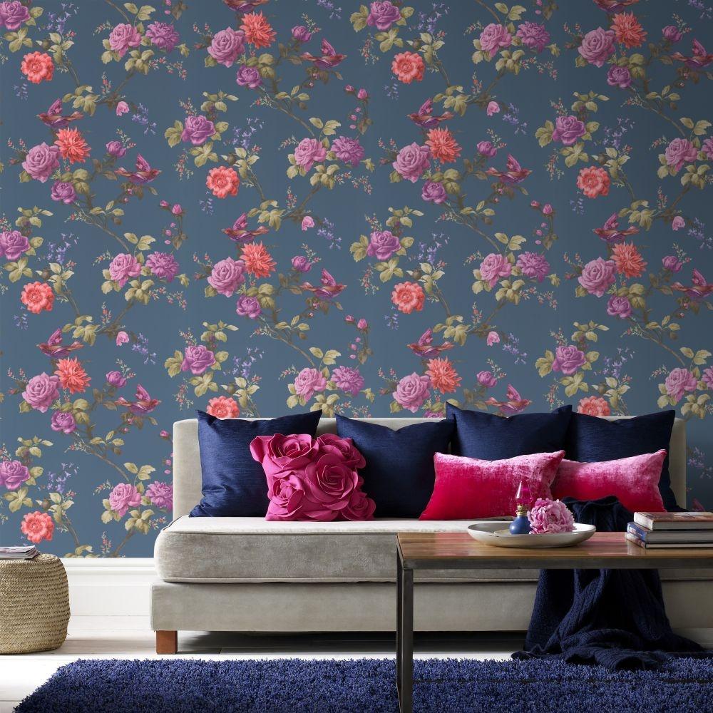 graham brown oriental bird motif flower floral leaf. Black Bedroom Furniture Sets. Home Design Ideas