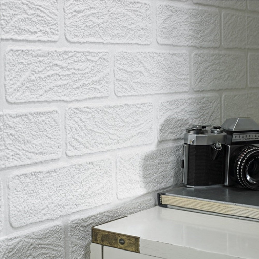 White Brick Wallpaper Kitchen: Graham & Brown Paintable White Brick Effect Vinyl