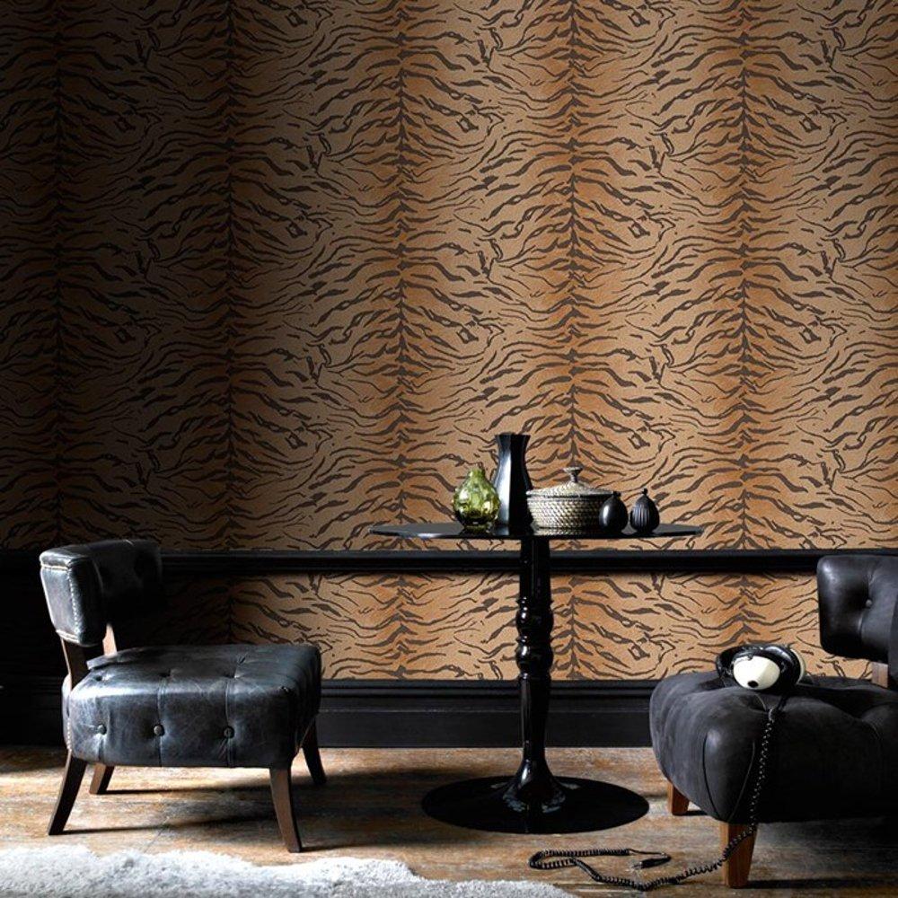 graham brown tiger print pattern animal fur motif wallpaper 32 642. Black Bedroom Furniture Sets. Home Design Ideas