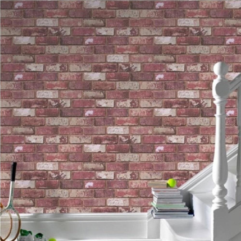 graham  brown wayne hemingway red brick effect wallpaper  - graham amp brown hemingway red brick wallpaper