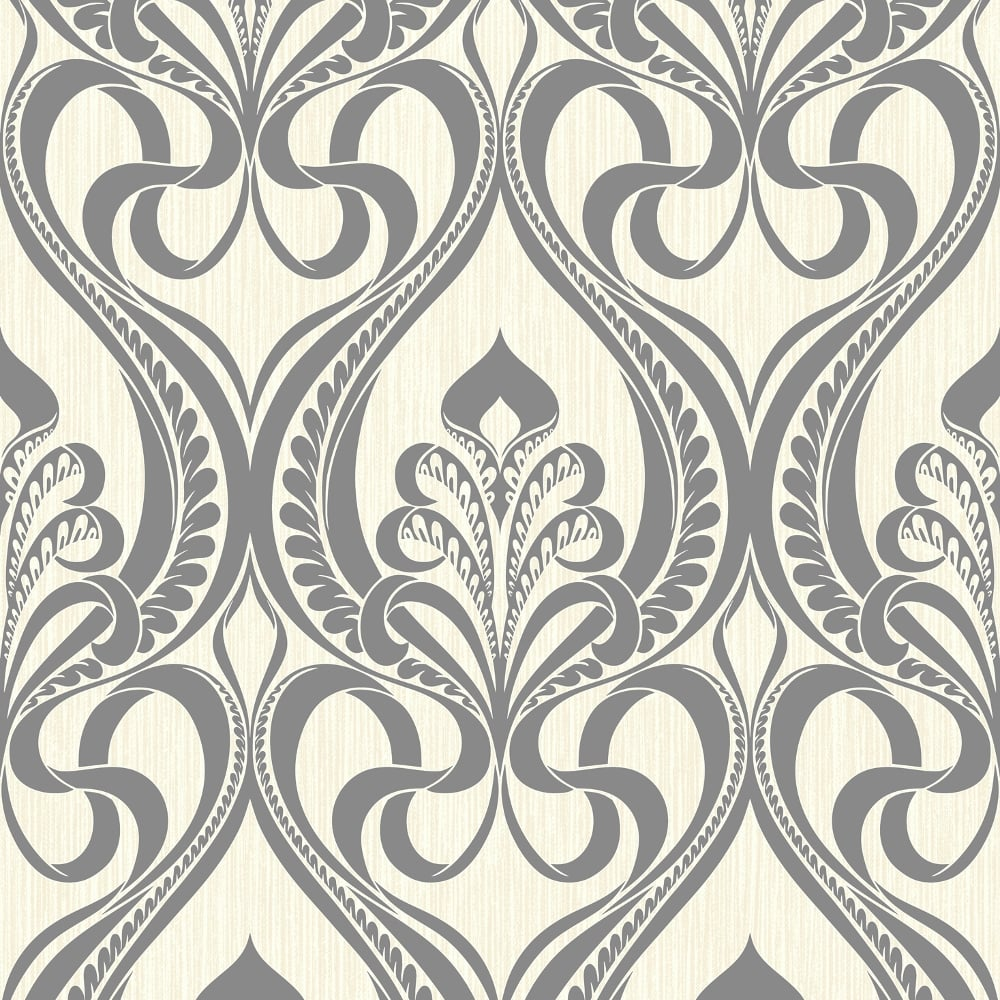 Grandeco Art Nouveau Damask Pattern Wallpaper Art Deco Metallic ...