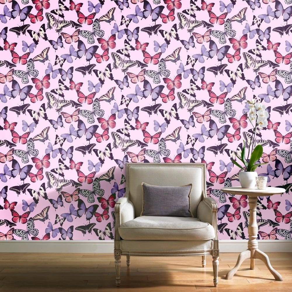 Grandeco Botanical Butterfly Pattern Wallpaper Modern ...