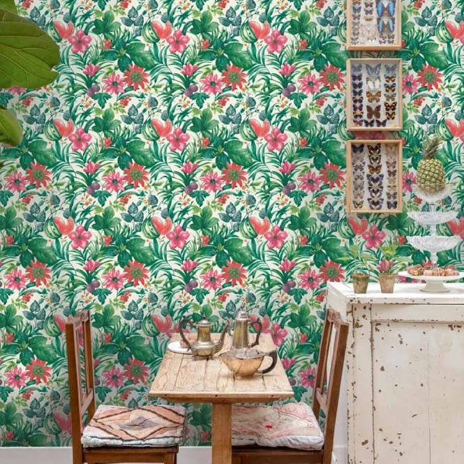 Grandeco Botanical Fruit Flower Pattern Wallpaper Tropical Floral Motif BA2001