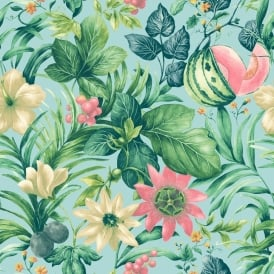 Grandeco Botanical Fruit Flower Pattern Wallpaper Tropical Floral Motif BA2002