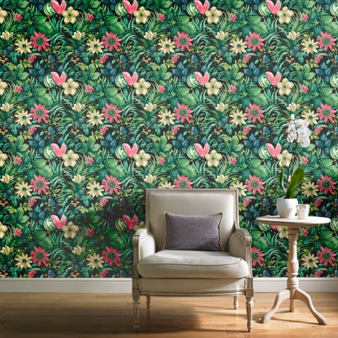 Grandeco Botanical Fruit Flower Pattern Wallpaper Tropical Floral Motif BA2003