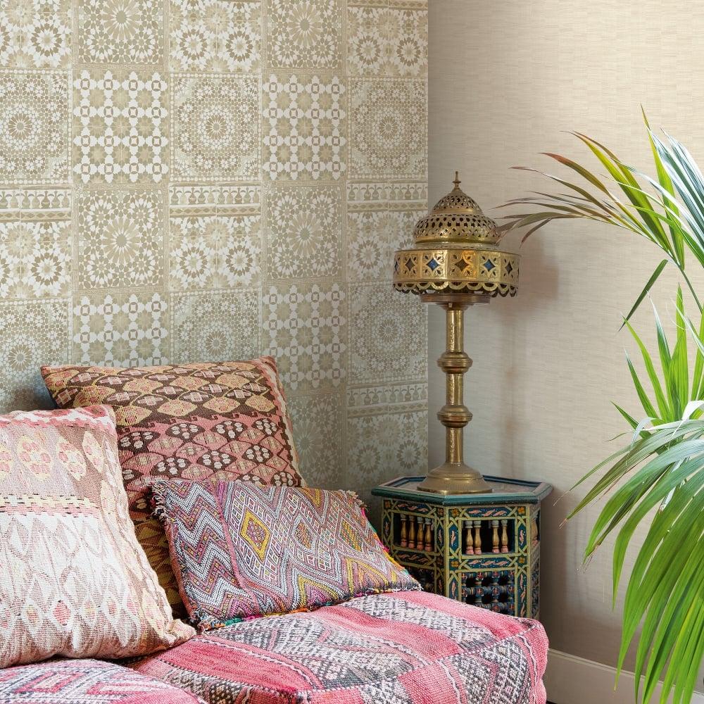Grandeco Botanical Moroccan Tile Pattern Wallpaper Retro Floral Textured Motif BA2501