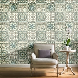 Grandeco Botanical Moroccan Tile Pattern Wallpaper Retro Floral Textured Motif BA2502
