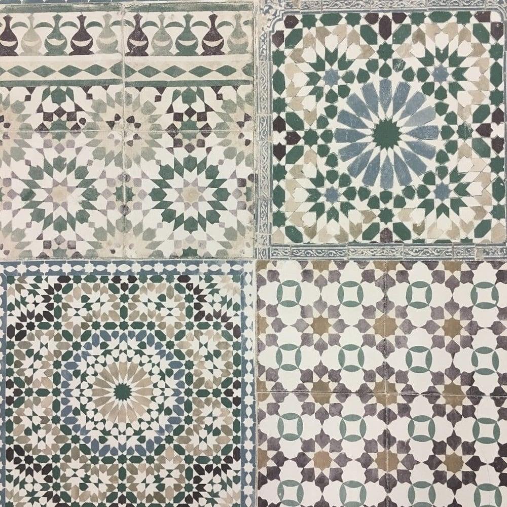 Grandeco Botanical Moroccan Tile Pattern Wallpaper Retro Floral BA2502