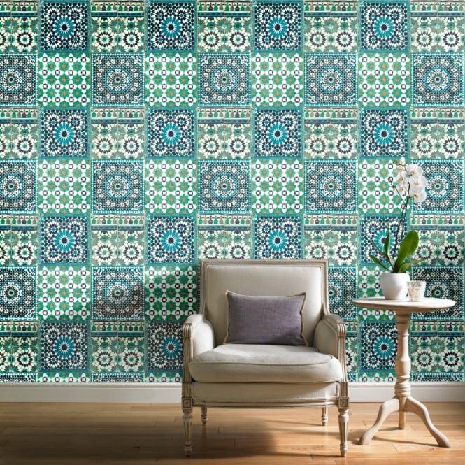 Grandeco Botanical Moroccan Tile Pattern Wallpaper Retro