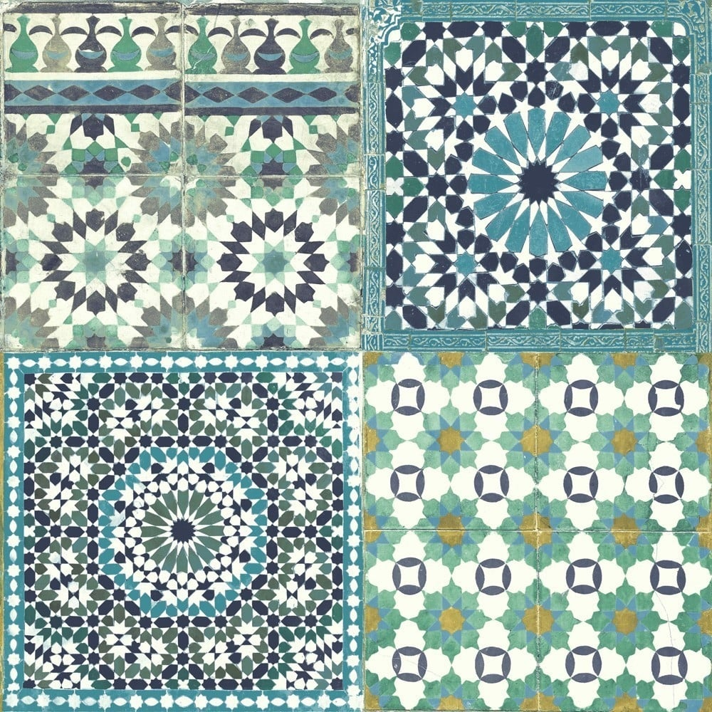 Grandeco Botanical Moroccan Tile Pattern Wallpaper Retro Floral BA2503