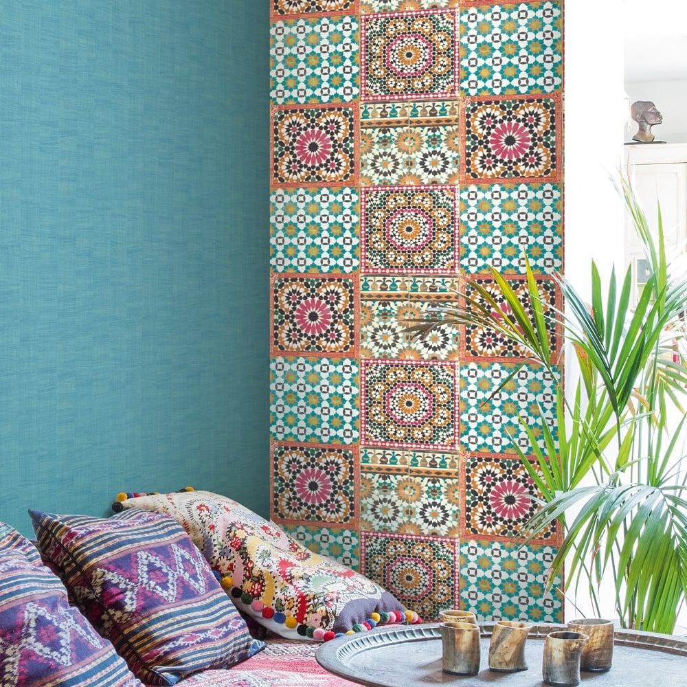 Grandeco Botanical Moroccan Tile Pattern Wallpaper Retro Floral Textured Motif BA2504