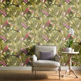 Grandeco Botanical Trees Leaves Pattern Wallpaper Birds Parrot Motif BA2202