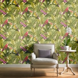 Grandeco Botanical Trees Leaves Pattern Wallpaper Birds Parrot Motif BA2203