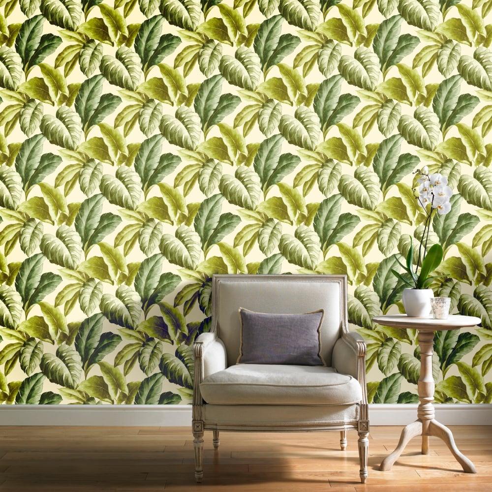 Grandeco Botanical Tropical Leaves Pattern Wallpaper Tree Leaf